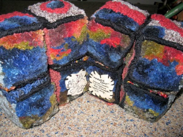 """Moveable Cube"" Designed and Hooked by Judi Tompkins 2011. Made with recycled wool blankets, Sari silk, novelty yarns."