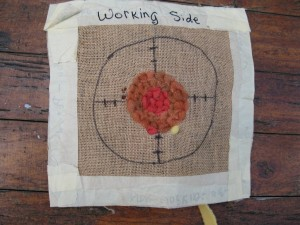 "Prodding - Working (or ""wrong"" side) with guidelines to work around circle."