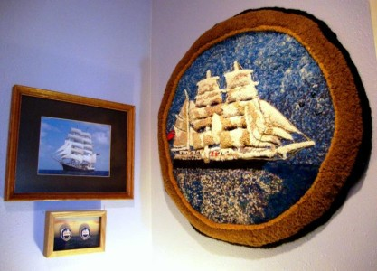 "Tall Ship ""Tenacious"" docked in Belgium (ship photo and rug); 26 x 28 recycled wool blankets, alpaca/mohair yarns, sari silk, sculpted, hooking Adaptation with image of original ship"