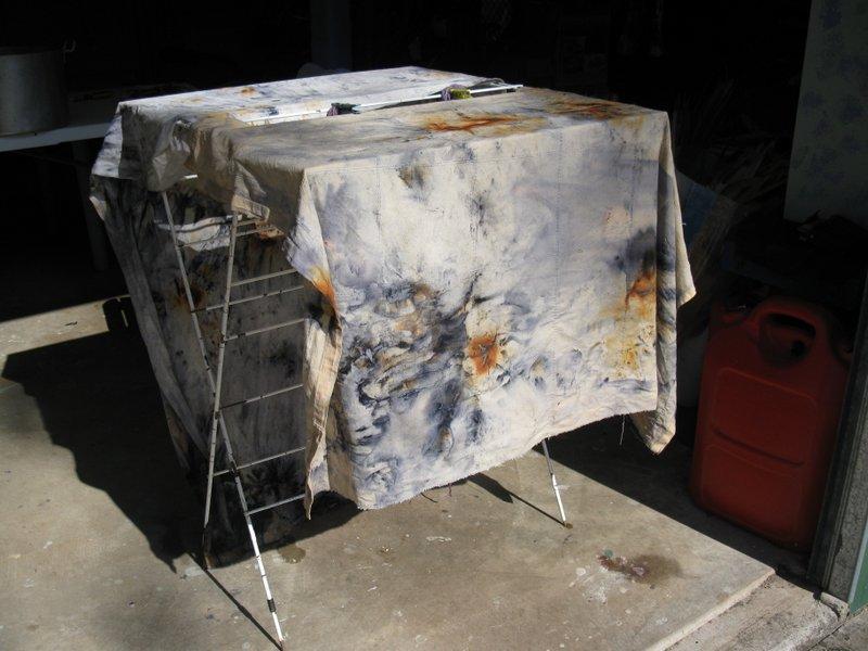 Bark dyed fabric