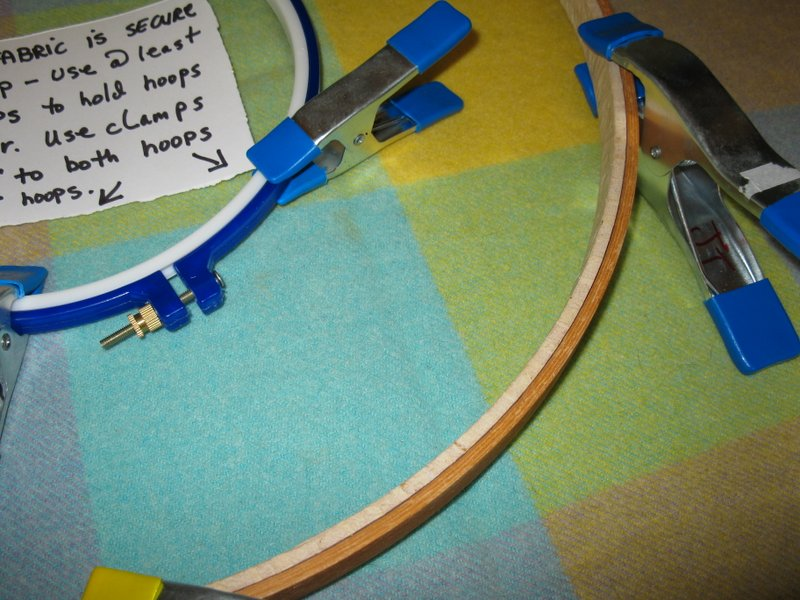 Close up of hoops with clamps attached