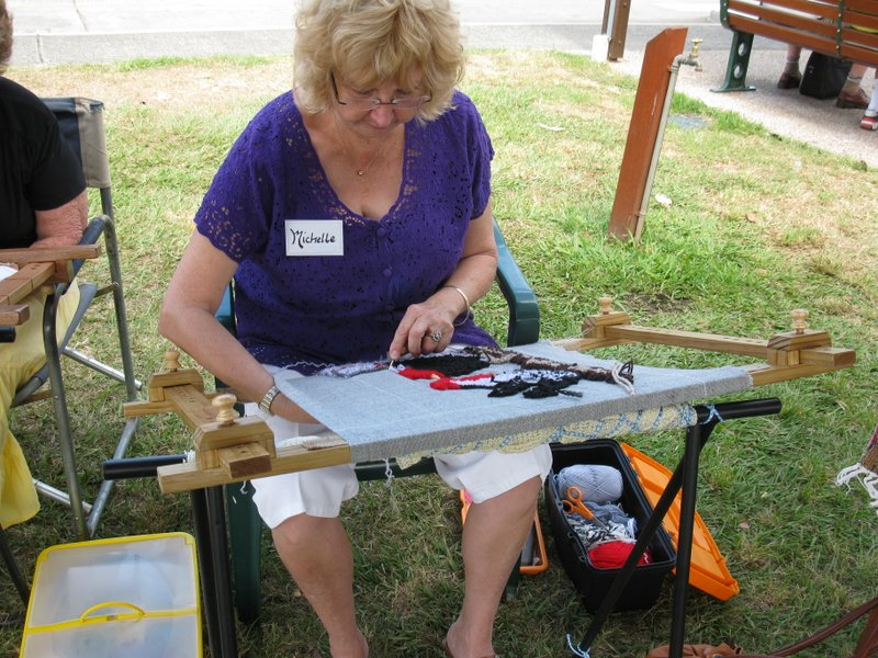 Michelle Spark using portable sawhorse legs for proddy frame