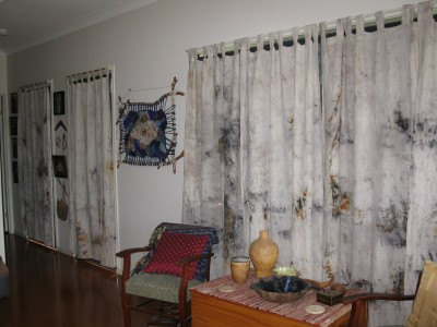 Cotton, tab-top curtains dyed using Scribbly Gum Bark.
