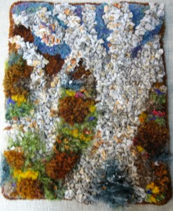 """This 12"""" x 15"""" piece was a two-day project made for a gallery show in South Australia..the theme was """"Botanicals""""....two trees are made with Scribbly-gum bark-dyed cotton and the """"rocks and flowers"""" are slightly Waldobored with wools and panti-hose."""