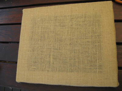Hessian Tacked to frame from front 6