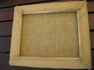 Hessian covered frame from back 5